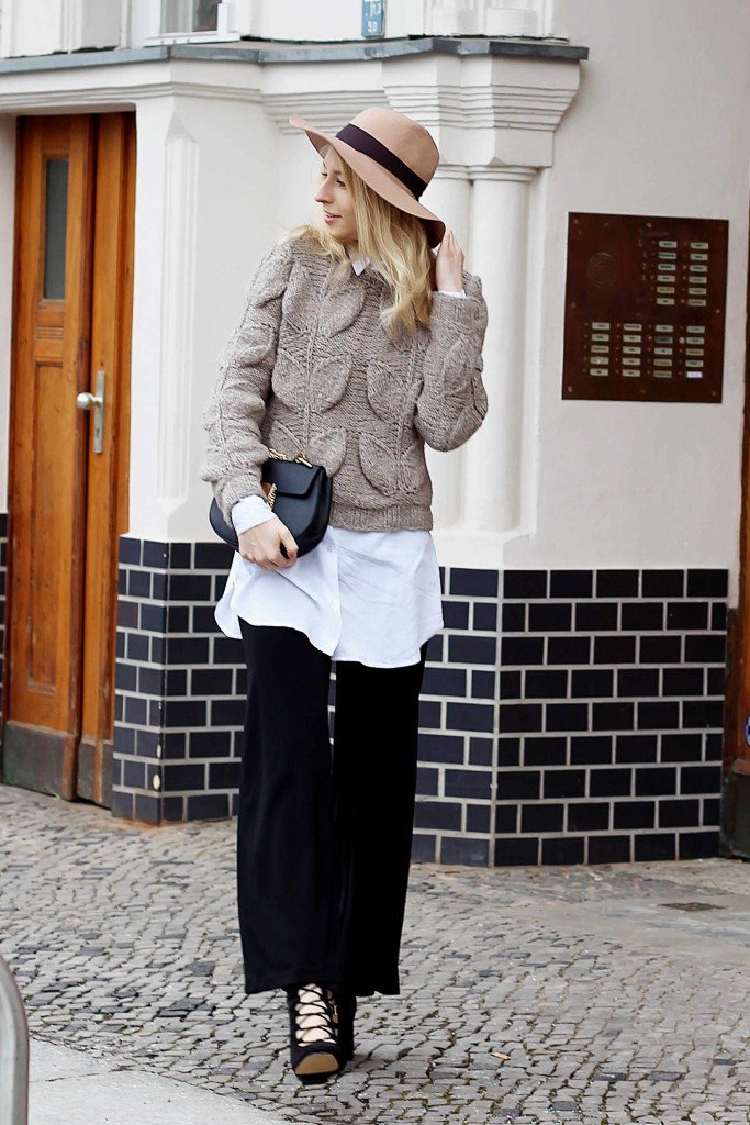 Flared Pants & Chunky Knit