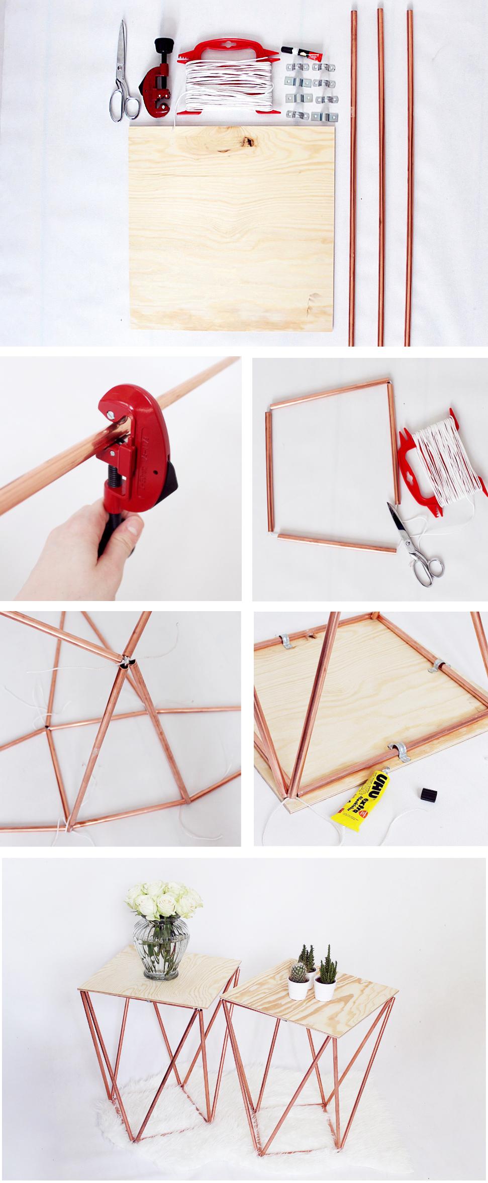 DIY Anleitung: Beistelltisch aus Kupfer selber bauen