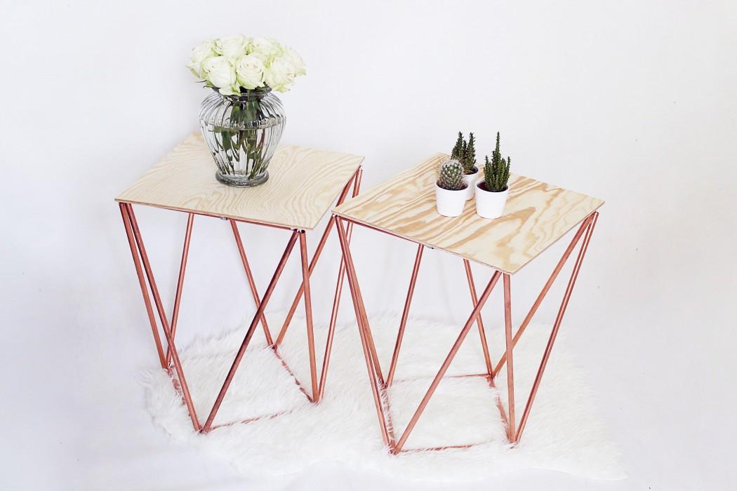 beistelltisch selber bauen aus kupfer kreative bauanleitung. Black Bedroom Furniture Sets. Home Design Ideas