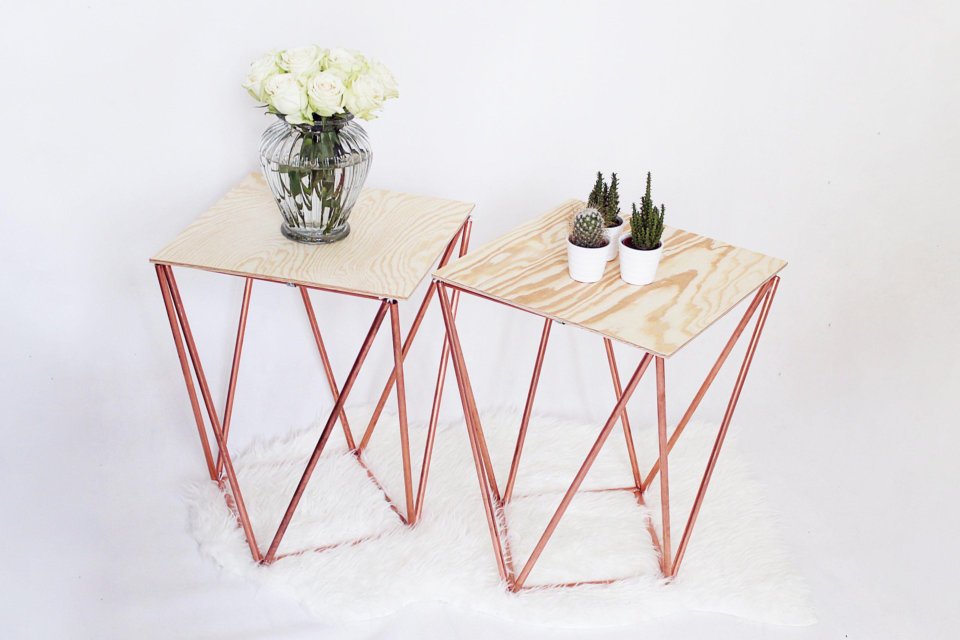 Beistelltisch selber bauen aus kupfer kreative bauanleitung for Kupfer deko