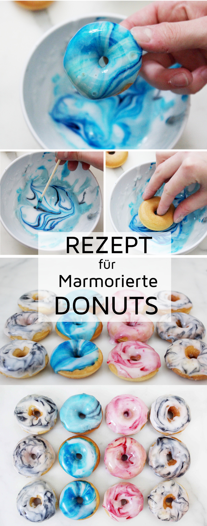 mini donuts backen mit marmormuster einfaches party rezept. Black Bedroom Furniture Sets. Home Design Ideas