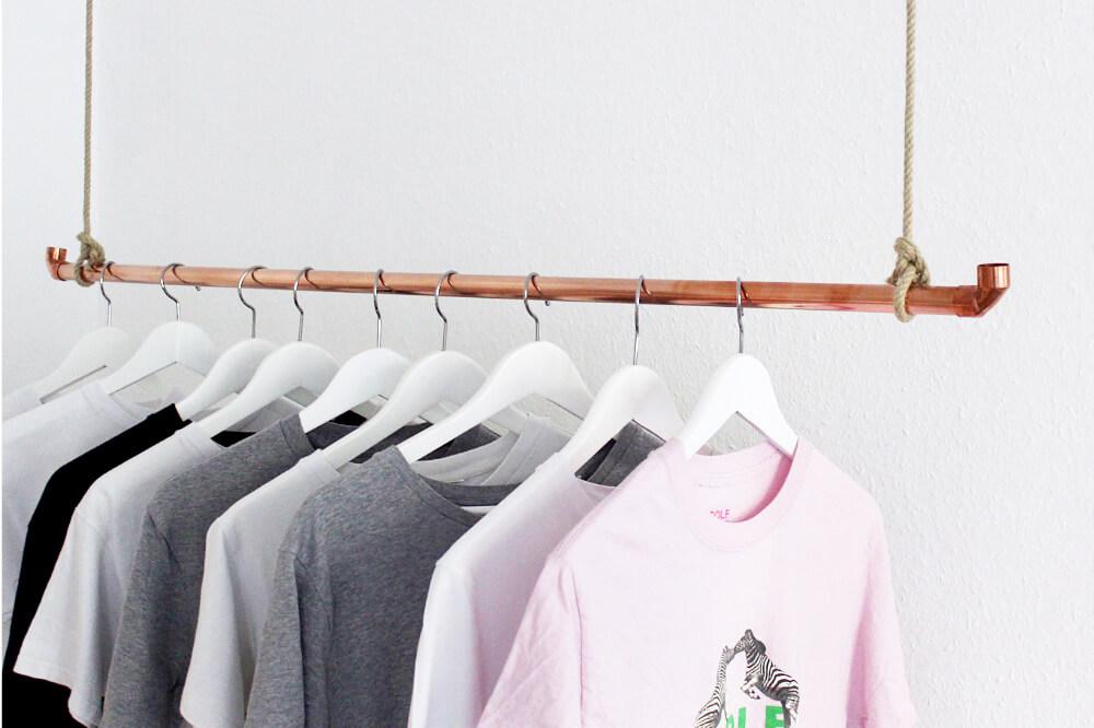 DIY Kleiderstange aus Kupferrohr selber bauen- Einfache DIY Anleitung