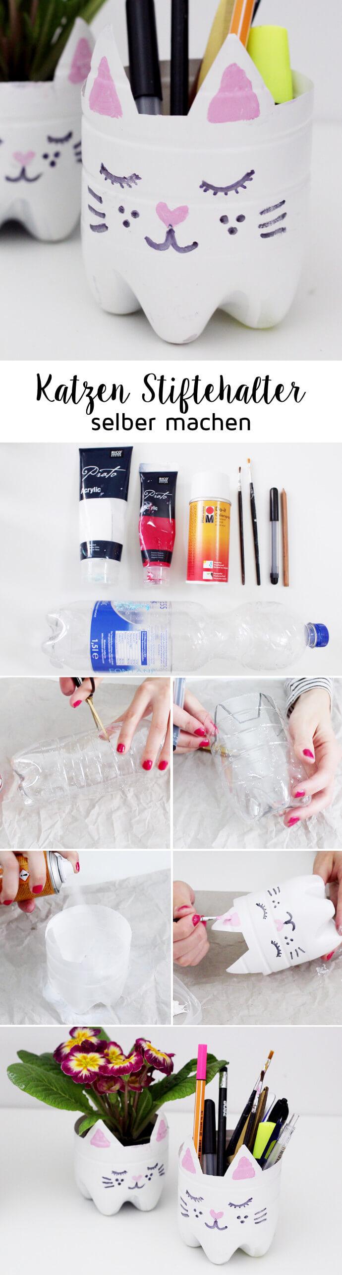 diy upcycling blumen topf aus flasche mit katzenmotiv selber machen. Black Bedroom Furniture Sets. Home Design Ideas