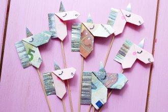 Geldscheine Kreativ Zu Origami Einhörnern Falten U2013 DIY Anleitung