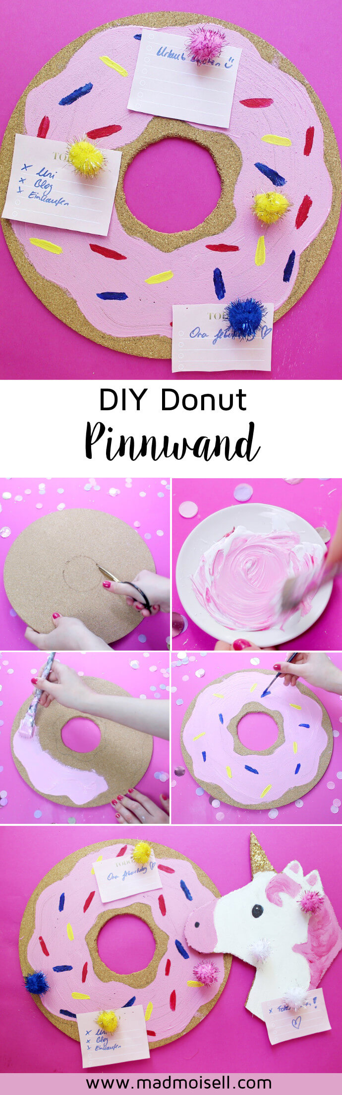 diy donut einhorn notizwand pinnwand kork selber machen basteln. Black Bedroom Furniture Sets. Home Design Ideas