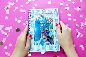DIY Notizbuch mit flüssiger Glitzer-Füllung selber machen 💦