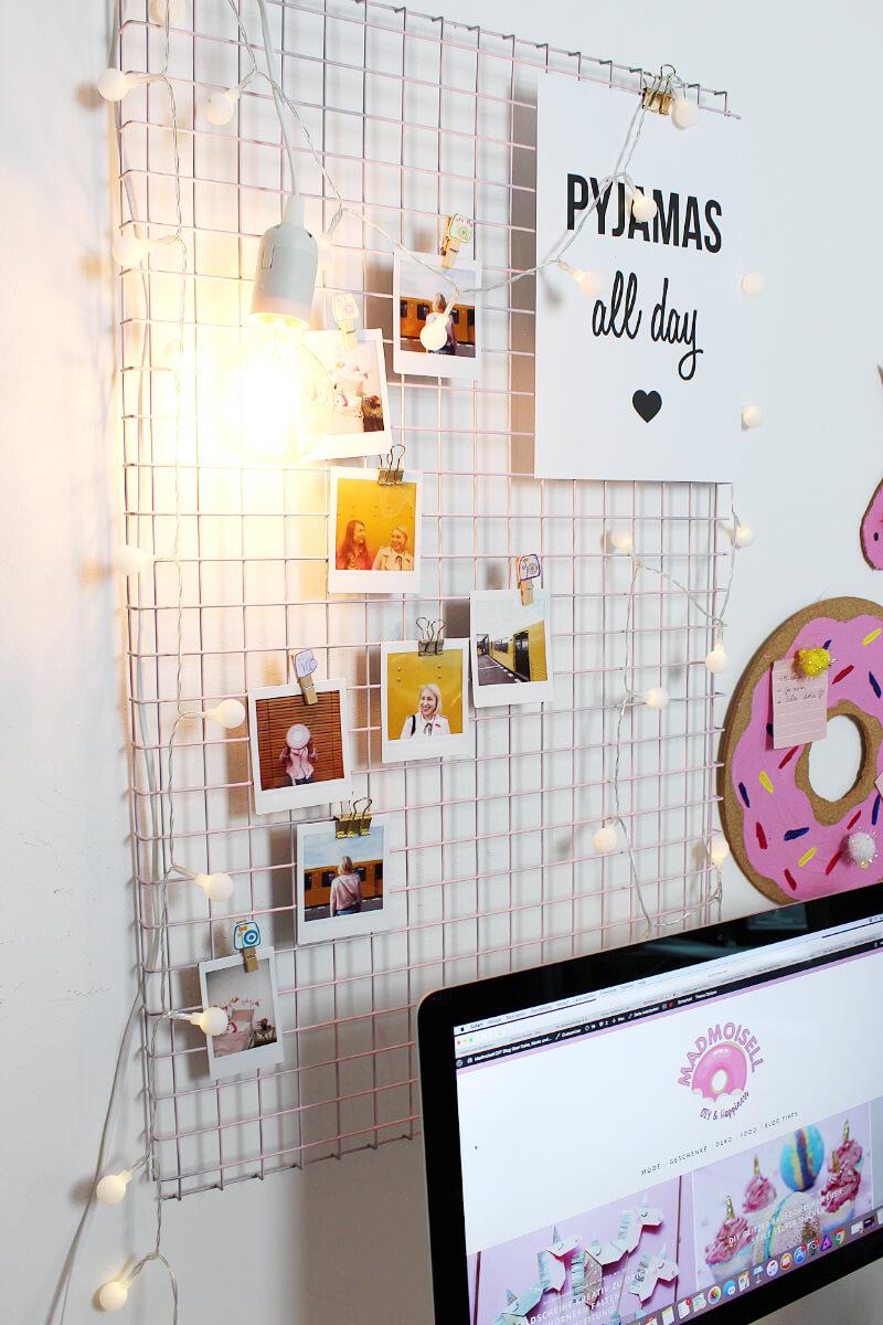 diy fotowand selber machen schreibtisch deko basteln. Black Bedroom Furniture Sets. Home Design Ideas