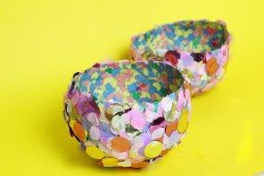 DIY Schalen aus Konfetti 🎉 selber machen: Einfache Bastellidee mit Kindern