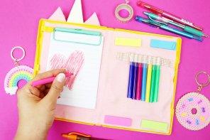 DIY Schulsachen selber machen – DIY Einhorn Mäppchen selbst gestalten 🦄