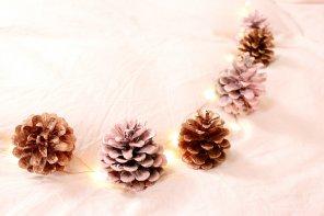 DIY Herbst Deko basteln: Herbstliche Girlande aus Kiefernzapfen selber machen