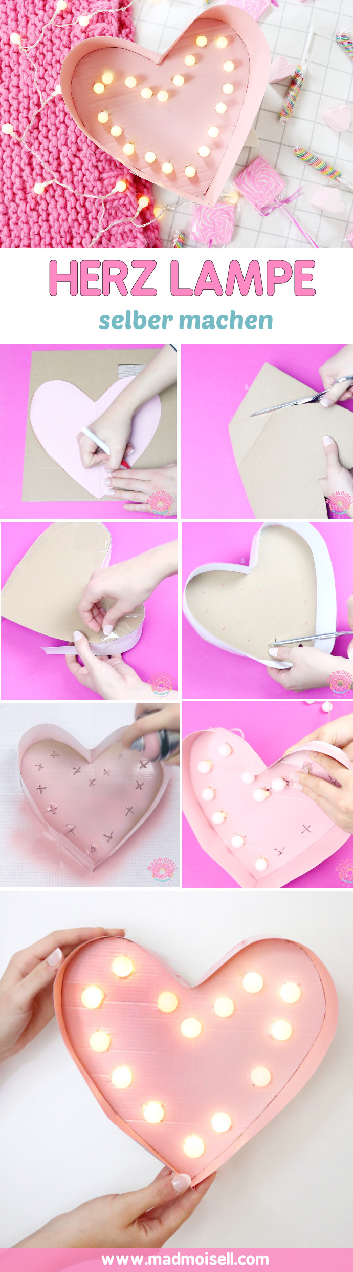 DIY Lampe in Herzform selber machen – Kreative DIY Deko Idee