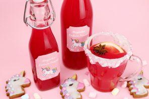 Alkoholfreien Einhorn Punsch selber machen als Weihnachtsgeschenk + Gratis Printable ?