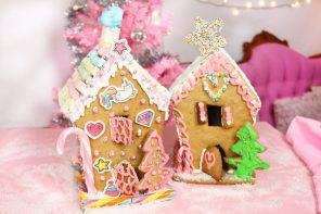 Lebkuchenhaus Rezept: Lebkuchenhäuser backen und verzieren in pink 💖