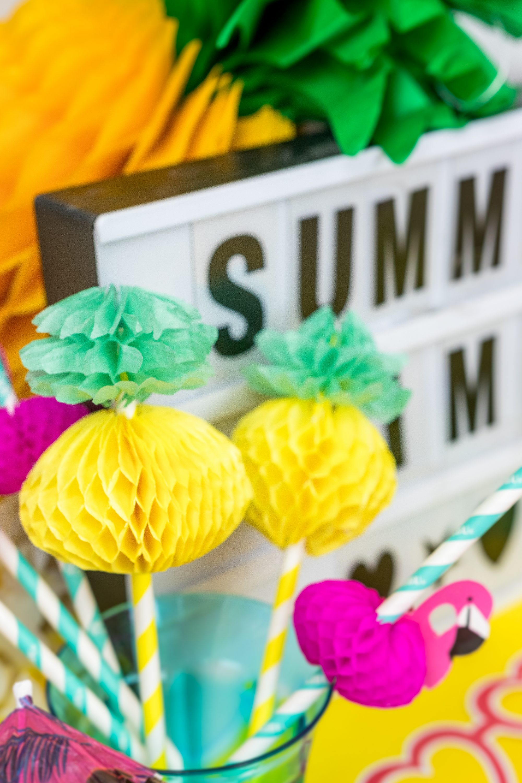 Sommer Party DIY Idee Ananas Strohhalm selber basteln DIY Blog