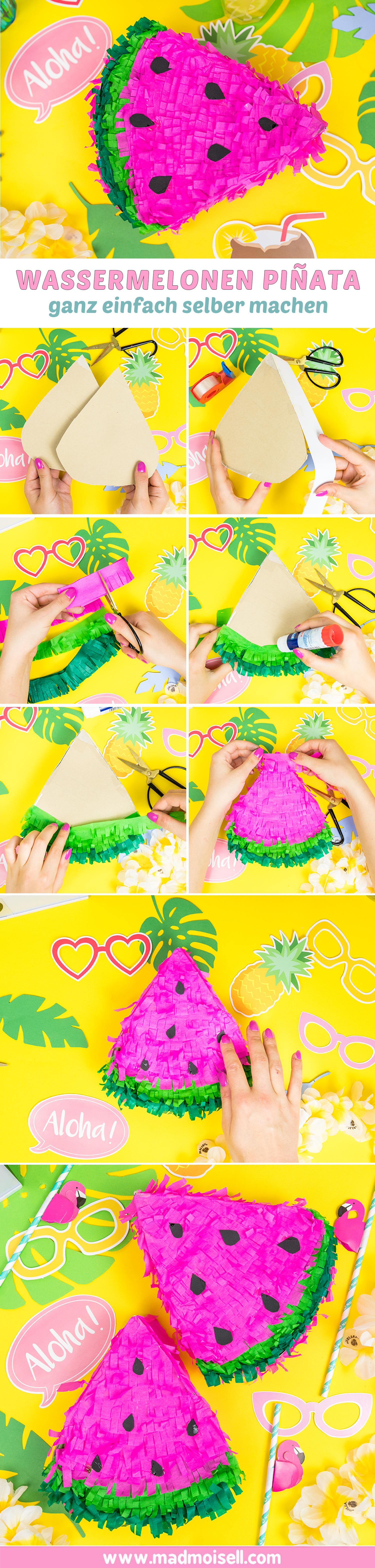 Sommer Party DIY Idee Wassermelonen Pinata selber basteln DIY Blog
