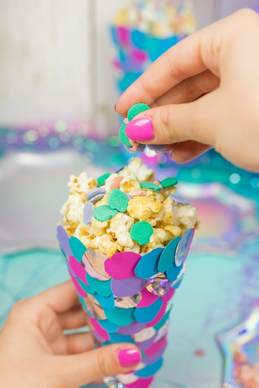 meerjungfrauen party diy ideen popcornt ten selber machen. Black Bedroom Furniture Sets. Home Design Ideas