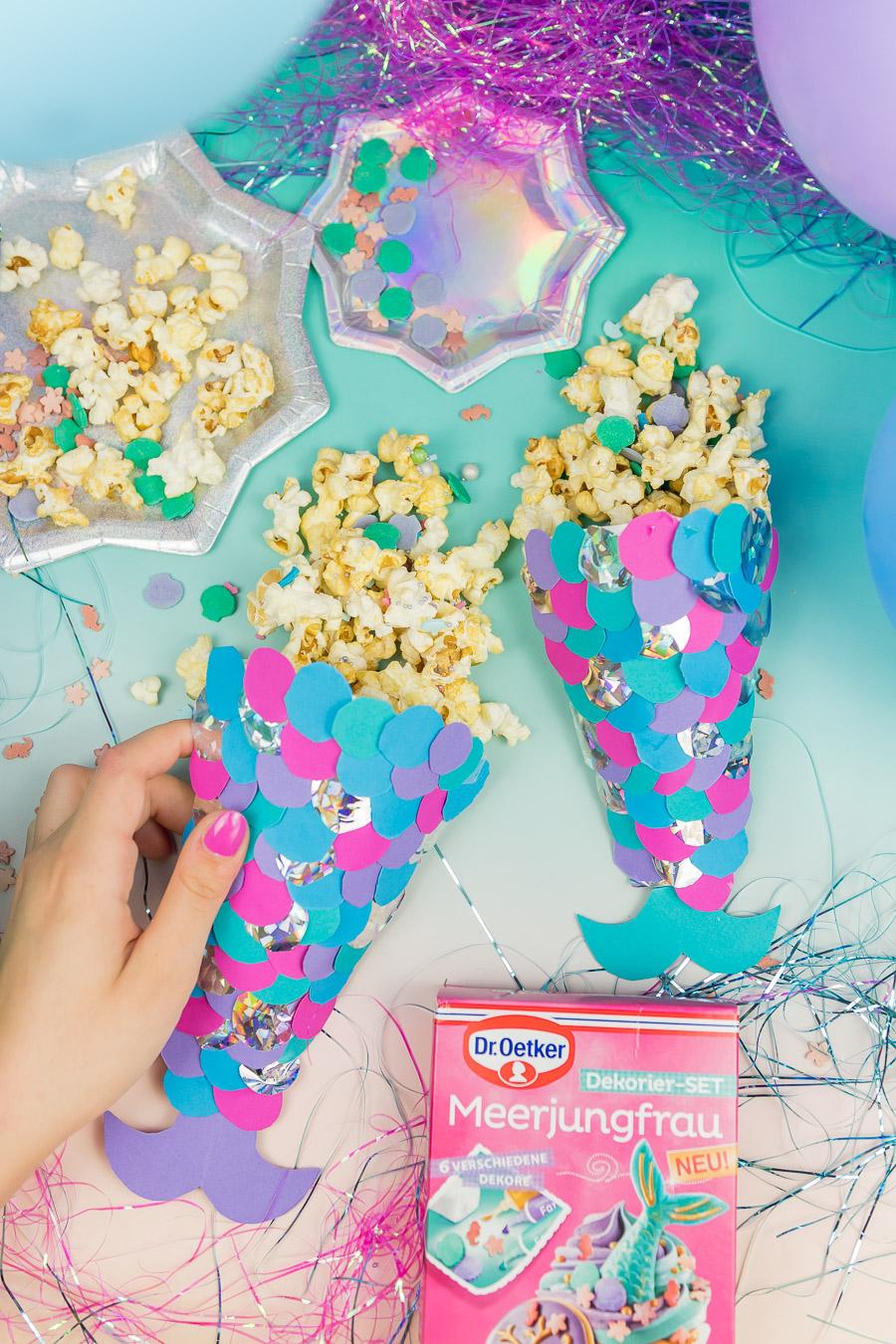 Meerjungfrauen Party Diy Ideen Popcorntuten Selber Machen