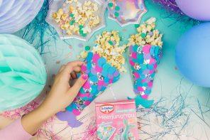 Meerjungfrauen-Party DIY Ideen: Popcorntüten selber machen – Inspiriert von Dr. Oetker